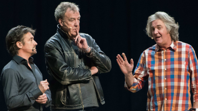 Mandatory Credit: Photo by Nils Jorgensen/REX/Shutterstock (5450046ad) Richard Hammond, Jeremy Clarkson, James May 'Clarkson, Hammond and May Live' at O2 Arena, London, Britain - 27 Nov 2015 Jeremy Clarkson, James May, Richard Hammond, host 90 minute arena show featuring stunts, supercars and never before seen sequences, at the O2, London.